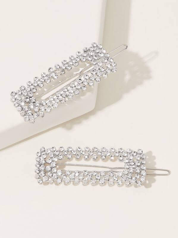 Rhinestone Square Hair Clip 2pcs