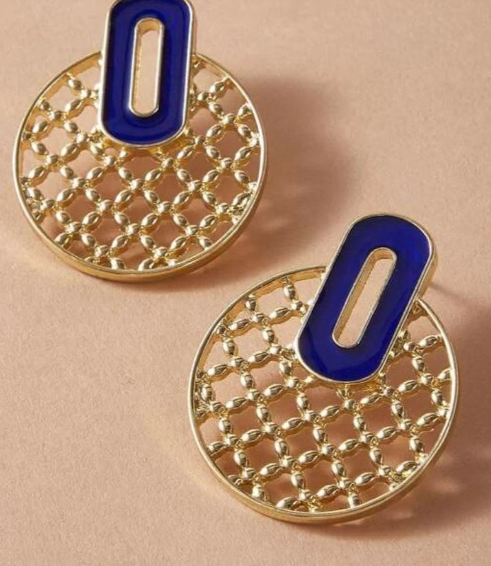 Gold and Navy Round Earrings