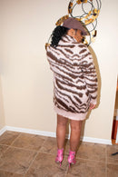 Pink/Brown Zebra Sweater Dress