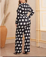 Curvy Girl Plus Polka Dot Self Belted Jumpsuit