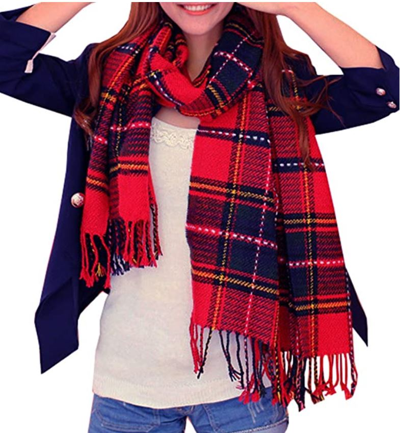 Long Plaid Shawl and Scarf