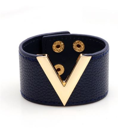V-Leather Band Cuff