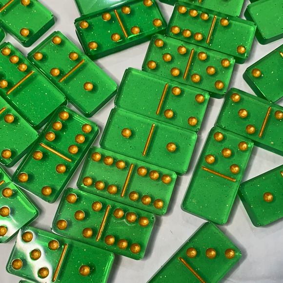 Transparent Light Green & Gold DOMINOES