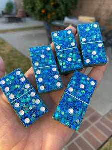 Holo Blue Teal DOMINOES