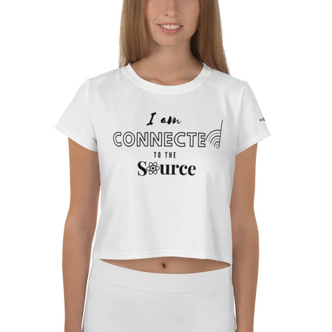 Connected to Source All-Over Print Crop Tee