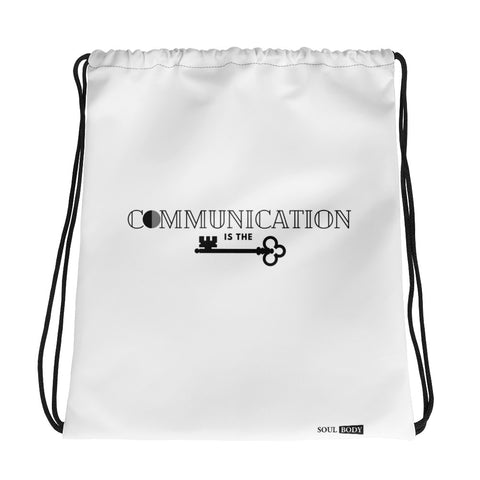 Communication is the key Drawstring bag