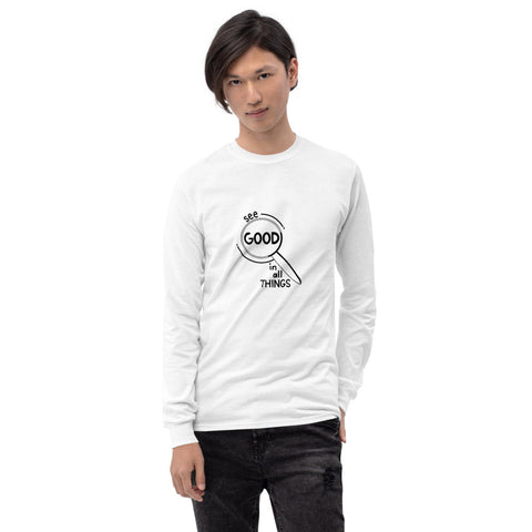 See Good In All Things Printed Men White Long Sleeve T-Shirt