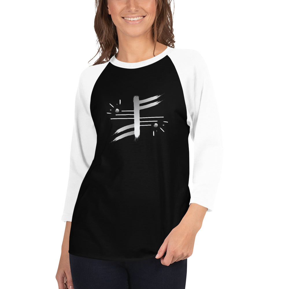 Abstract 3/4 sleeve raglan shirt