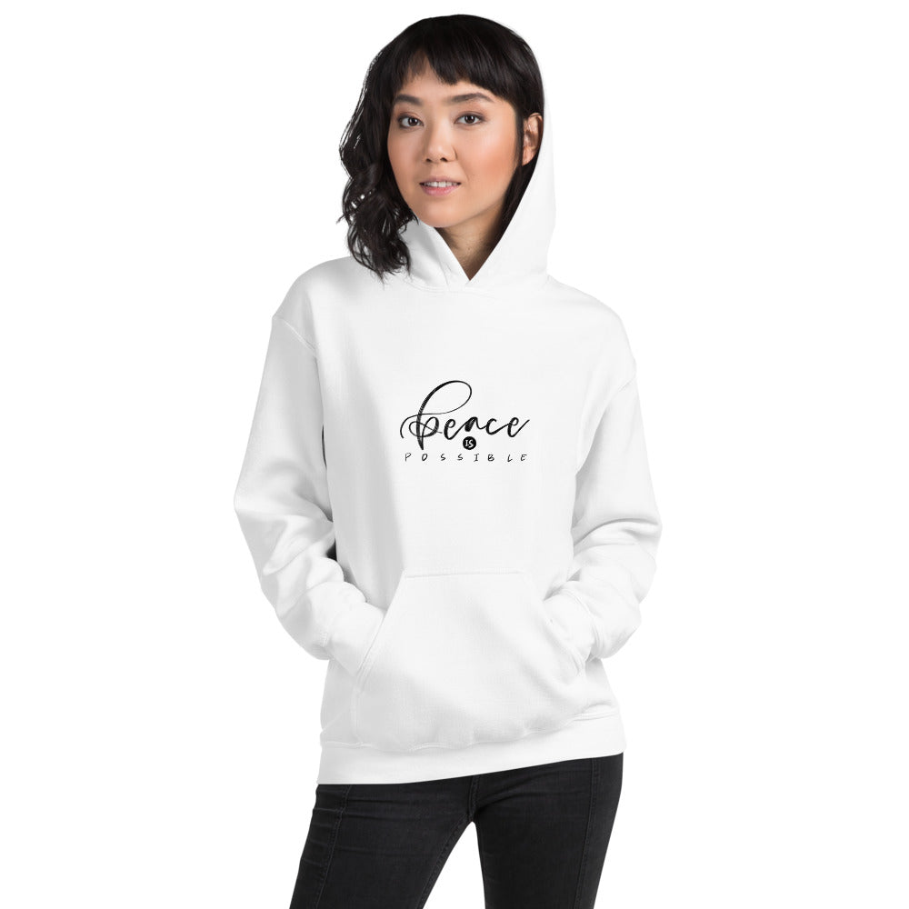 Peace Is Possible Printed Women White Hooded Sweatshirt