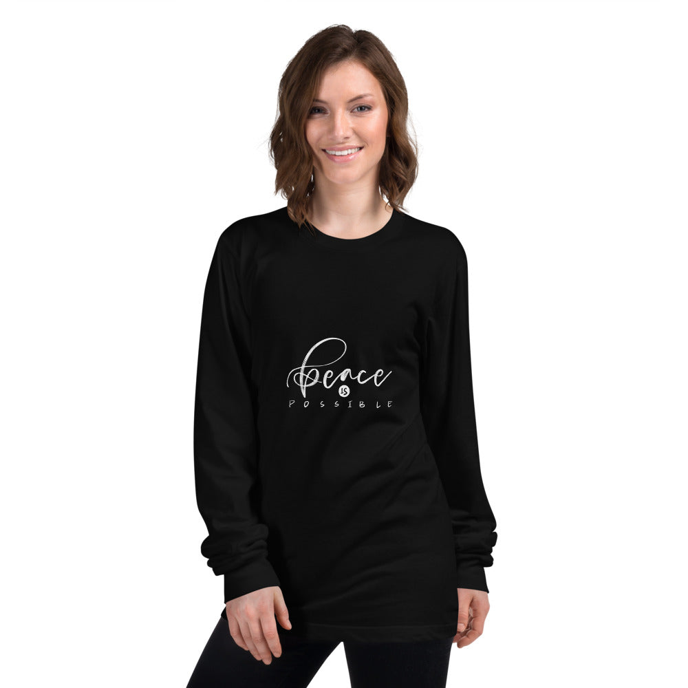 Peace Is Possible Printed Women Black Long sleeve t-shirt