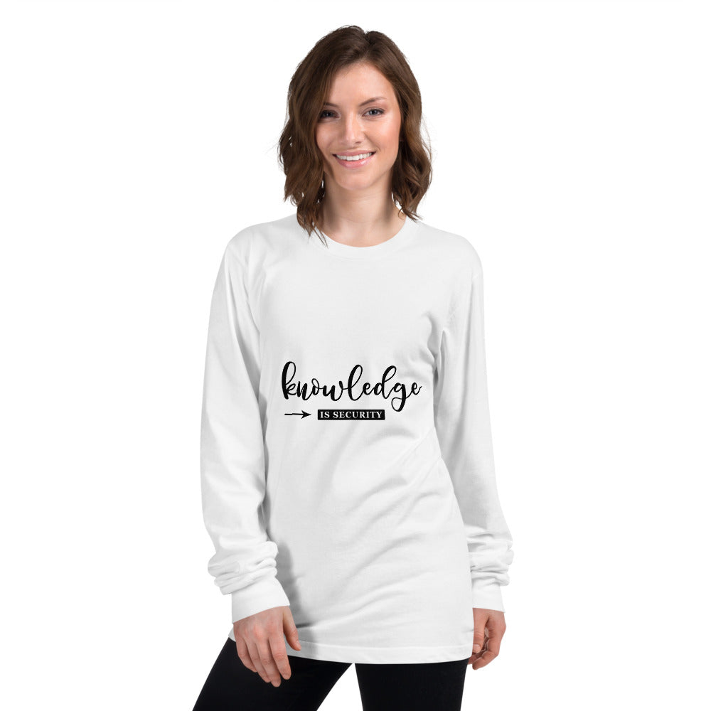 Knowledge is Security Printed Women White Long sleeve t-shirt