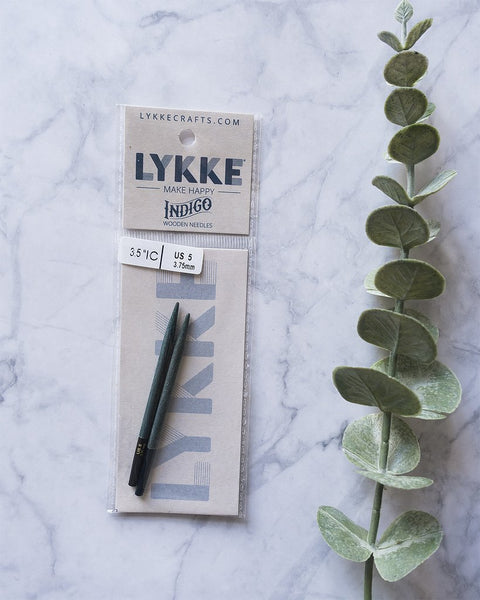 LYKKE Indigo 3.5'' interchangeable knitting needle tips | Люкки Индиго деревянные  сменные иглы 3.5""