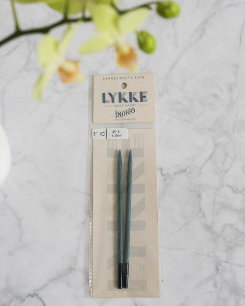 LYKKE Indigo 5'' interchangeable knitting needle tips | Люкки Индиго деревянные  сменные иглы 5""