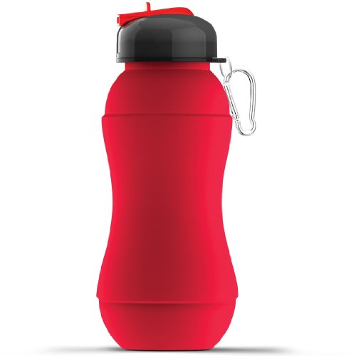 Asobu Sili-Squeeze Collapsible Silicone Hydra Bottle With Sport Lid, Red, 24-Ounce