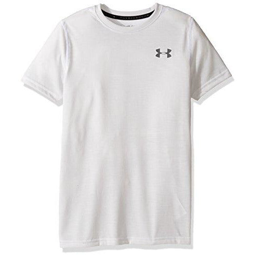 Under Armour Boys Threadborne T-Shirt,White (100)/Graphite, Youth X-Small