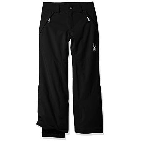 Spyder Girls' Olympia Ski Pant Regular Fit, Black/Black, Size 18