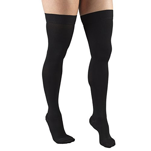 Truform 20-30 Mmhg Compression Stockings For Men And Women, Thigh High Length, Dot Top, Closed Toe, Black, Medium (20-30 Mmhg)