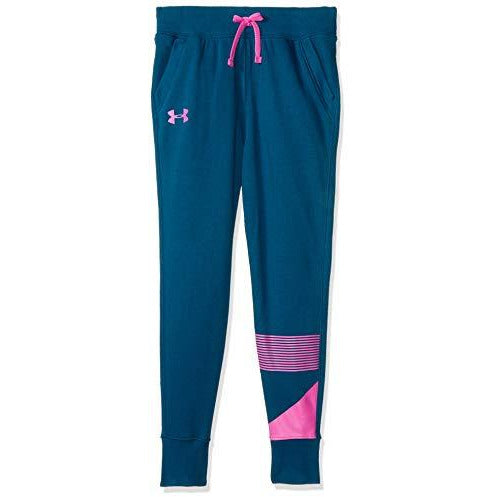 Under Armour Girls Rival Jogger, Techno Teal (490)/Fluo Fuchsia, Youth Large