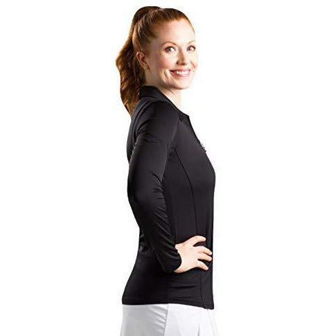 SanSoleil Women's Sunglow UV 50 Long Sleeve Polo - Small - Black