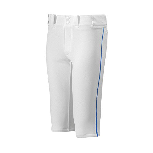 Mizuno Youth Premier Piped Short Baseball Pant, White-Royal, Youth Large