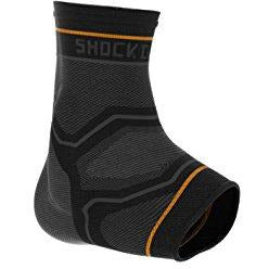 Shock Doctor Compression Knit Ankle Sleeve With Gel Support, Black/Grey, Adult-X-Large