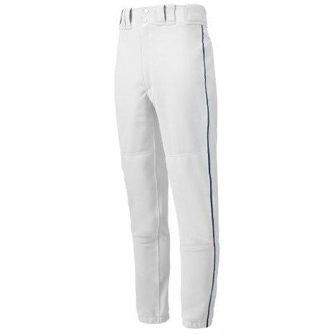 Mizuno Youth Premier Piped Baseball Pants, White-Navy, Youth Large