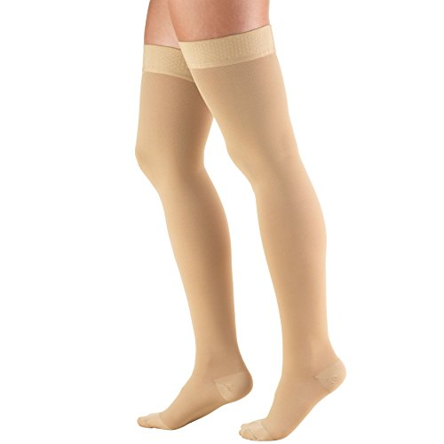 Truform 30-40 Mmhg Compression Stockings For Men And Women, Thigh High Length, Dot-Top, Open Toe, Beige, Medium (30-40 Mmhg)