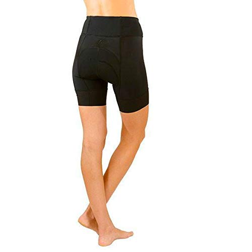 SHEBEEST Women's Petunia Padded Cycling/Biking Short, Black, Medium