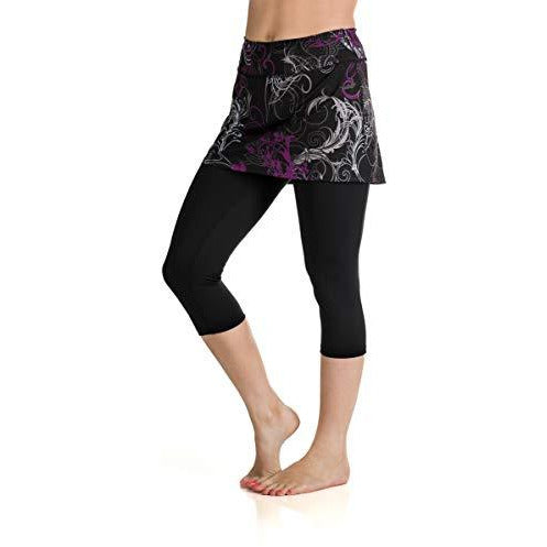 Skirt Sports Women's Lotta Breeze Capri Skirt, Starlet Print/Black, Medium