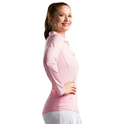 SanSoleil Women's Sunglow UV 50 Long Sleeve Polo - Small - Blush