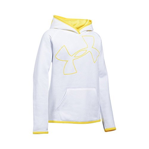 Under Armour Girls' Armour Fleece Jumbo Logo Hoodie, White (104)/Tokyo Lemon, Youth Small
