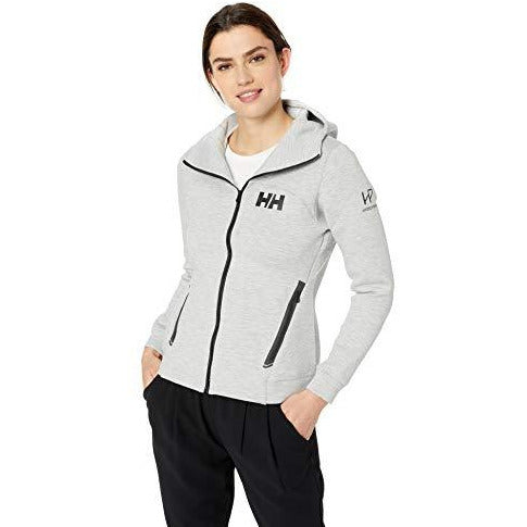 Helly Hansen Women's Hydropower Ocean Semi-Technical Full-Zip Hooded Sweatshirt, 949 Grey Melange, Large