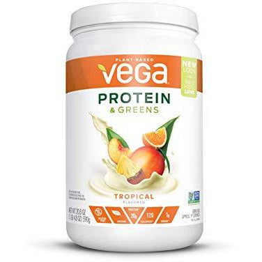 Vega Protein & Greens Tropical (19 Servings, 20.8 Ounce) - Plant Based Protein Powder, Keto-Friendly, Gluten Free, Non Dairy, Vega