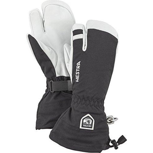 Hestra Mens and Womes Ski Gloves: Army Leather 3-Finger Winter Mitten, Black, 7
