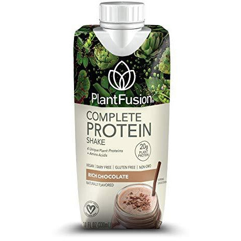 Plantfusion Complete Ready To Drink Plant Based Protein Shake, Chocolate, 11 Oz Carton, 12 Count, Gluten Free, Non-Gmo