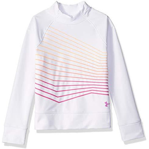 Under Armour Girls Coldgear Mock Long sleeve Sweatshirt, White (100)/Fluo Fuchsia, Youth X-Large