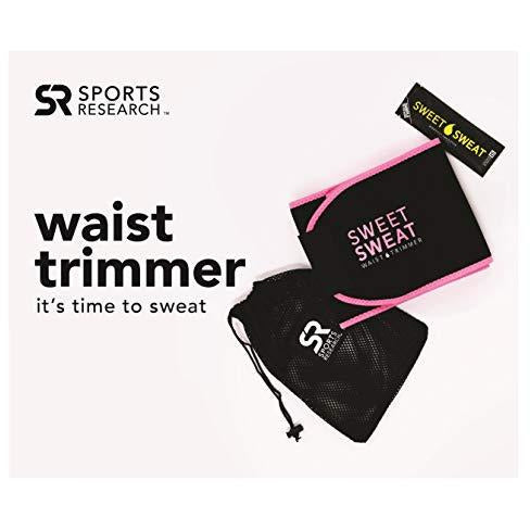 "Sports Research Sweet Sweat Premium Waist Trimmer (Pink Logo) for Men & Women ~ Includes Free Sample of Sweet Sweat Gel! (Medium: 8"" x 41"" Length)"