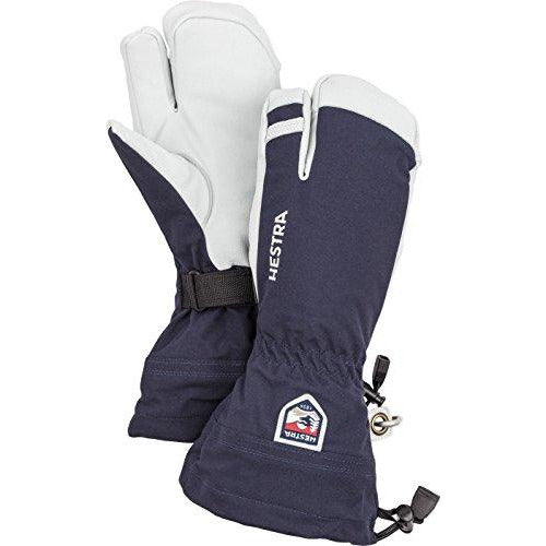 Hestra Mens and Womes Ski Gloves: Army Leather 3-Finger Winter Mitten, Navy, 9
