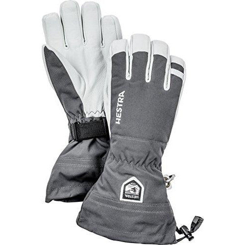 Hestra Ski Gloves: Army Leather Heli Leather Cold Weather Powder Gloves, Grey, 10