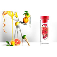Asobu Flavor It 20 Ounce Glass Water Bottle With Fruit Infuser, Red