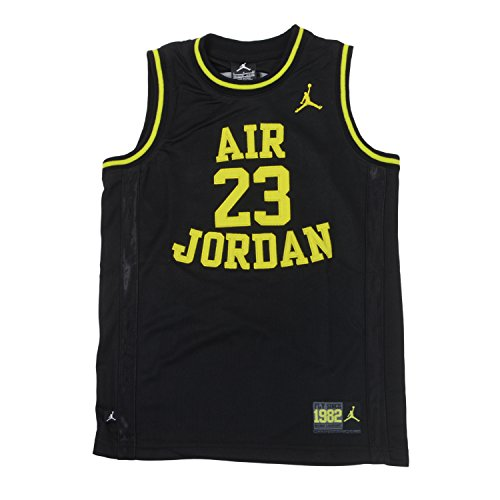 Nike Jordan Boys Youth Classic Mesh Jersey Shirt (M(10-12YRS), Black/V.Green)
