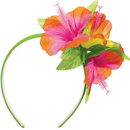 "Amscan Hibiscus Party Headband with Fabric Flowers, 10.25"" x 10"""