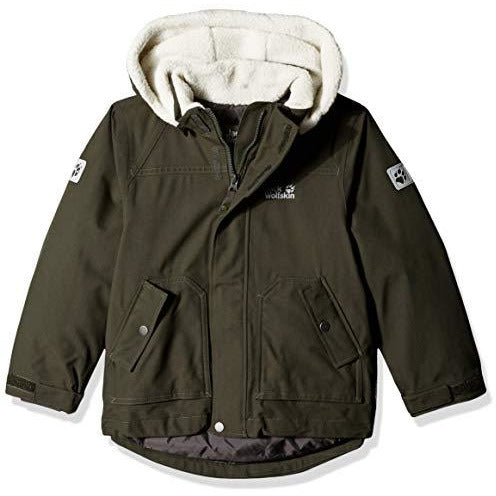 Jack Wolfskin Boy's Great Bear Waterproof Sherpa Insulated Jacket, Malachite, Size116(5-6)