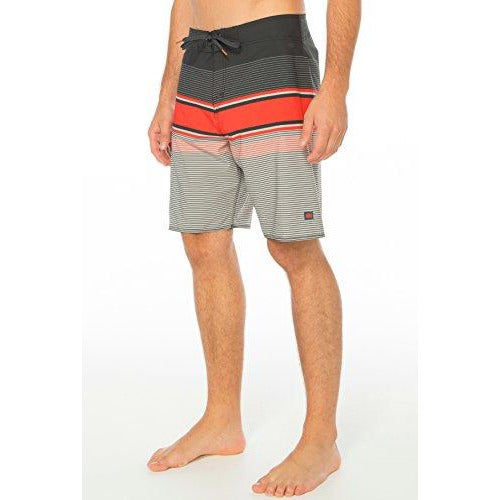 Cova Men'S Tidal High Performance Board Shorts, Black/Red, Size 33
