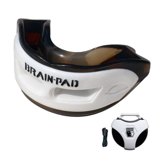 Brain Pad Youth Triple Laminated Mouthguard Strap/Strapless Combo with Special Formulated Super Gel Pads (Black/White, XXX Small)