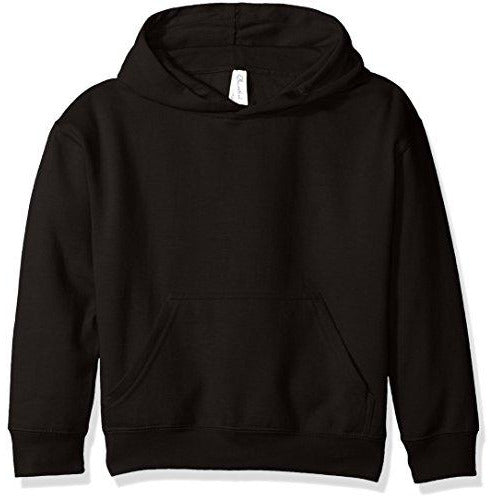 Clementine Apparel Girls' Big (7-16) Apparel Youth Hooded Pullover Sweatshirt with Pouch Pocket, Black, S