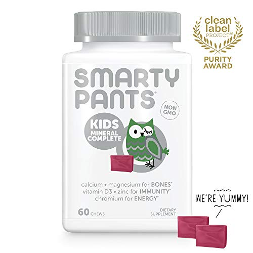 SmartyPants Kids Mineral Complete Daily Gummy Vitamins: Multivitamin, Multimineral, Gluten Free, Calcium Citrate, Magnesium Citrate, Vitamin C, D3, E, Zinc, 60 Count (30 Day Supply)