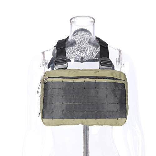 Tactical Chest Rig, Heavy Duty Radio Chest Harness, Chest Front Pack Pouch Holster Vest Rig for Two Way Radio with Front Pouches and 2 Large Pockets for Universal Walkie Talkies Accessories (Green)