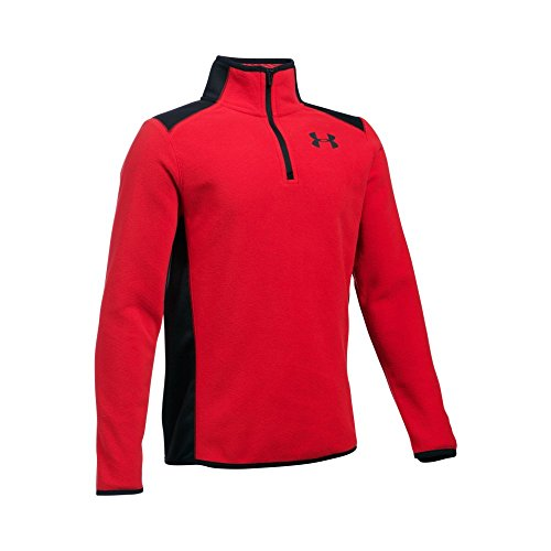 Under Armour Boys' ColdGear Infrared Fleece 1/4 Zip, Red/Black, Youth X-Small