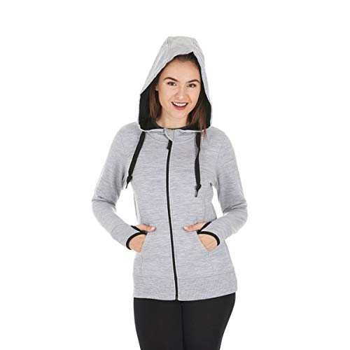 Minus33 Merino Wool Clothing Women's Aleutian Expedition Wool Full Zip Hoody, Ash Grey, Medium
